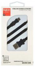 Kábel Bigben Micro USB na USB, plochý, 2,1A, 1m, čierna
