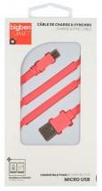 Kábel Bigben Micro USB na USB, plochý, 2,1A, 1m, ružová