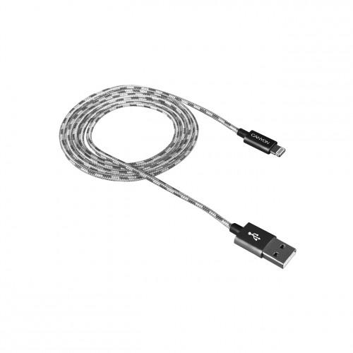 Kábel Canyon Lightning na USB, 1m, pletený, tmavo šedá