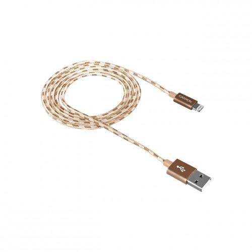 Kábel Canyon Lightning na USB, 1m, pletený, zlatá