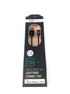 Kábel Lightning na USB, gumový, 1,5m, C8, čierna