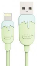 Kábel Lightning na USB, gumový 1m, CC, zelená/modrá
