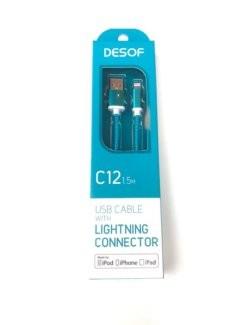 Kábel Lightning na USB, textilné, 1,5m, C12, tyrkysová