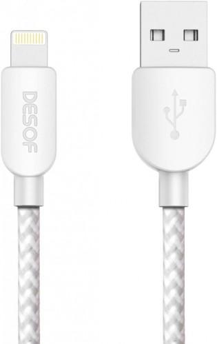 Kábel Lightning na USB, textilné, 1,5m, C7, biela