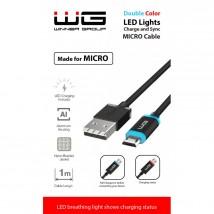 Kábel WG Micro USB na USB, 1m, LED indikácia nabíjania