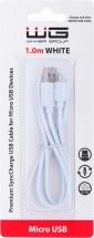 Kábel WG Micro USB na USB, 2,1A, 1m, biela