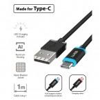 Kábel WG USB Typ C na USB, 1m, LED indikácia nabíjania