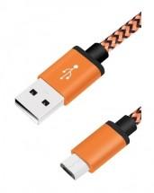 Kábel WG USB Type C na USB, 1m, opletený, oranžová POUŽITÉ, NEOPO