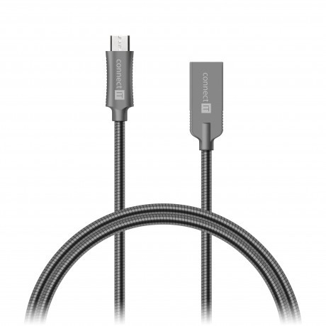 Kabel Wirez Steel Knight Micro USB-USB, šedá