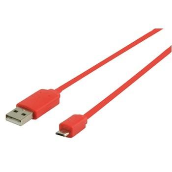 Káble k telefónom a Kábel USB2.0 TYP A - MICRO USB TYP B, ČERVENÝ - 1m