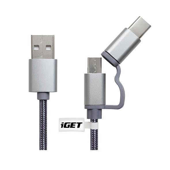 Káble k telefónom a tabletom 2v1 Kábel iGET Micro USB/USB Typ C na USB, 1m, predĺžený