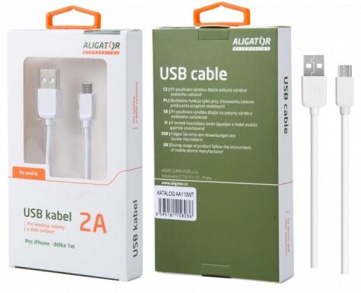 Káble k telefónom a tabletom Kábel Aligator Lightning na USB, 1m, biela