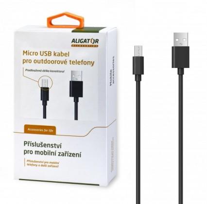 Káble k telefónom a tabletom Kábel Aligator Micro USB na USB, 1m, predĺžená koncovka, čierna