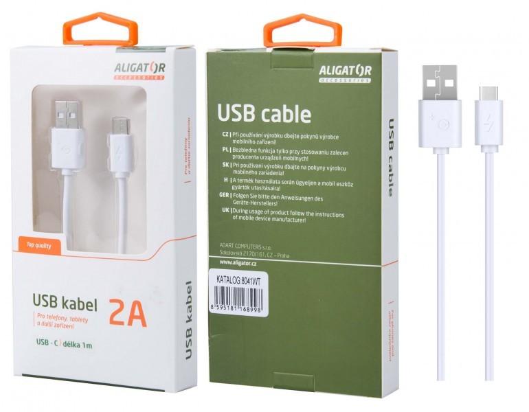 Káble k telefónom a tabletom Kábel Aligator USB Typ C na USB, 1m, biela
