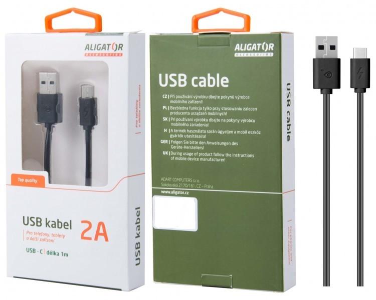 Káble k telefónom a tabletom Kábel Aligator USB Typ C na USB, 1m, predĺžená koncovka, čierna