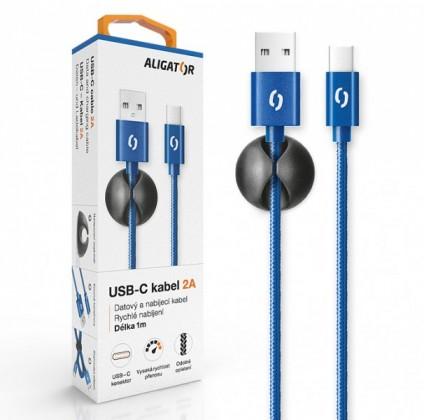 Káble k telefónom a tabletom Kábel Aligator USB Typ C na USB, 2A, 1m, modrá