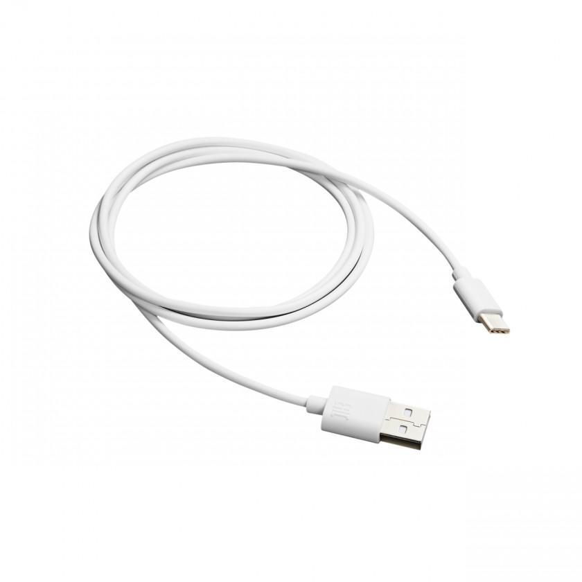 Káble k telefónom a tabletom Kábel Canyon USB Typ C na USB, 1m, biela