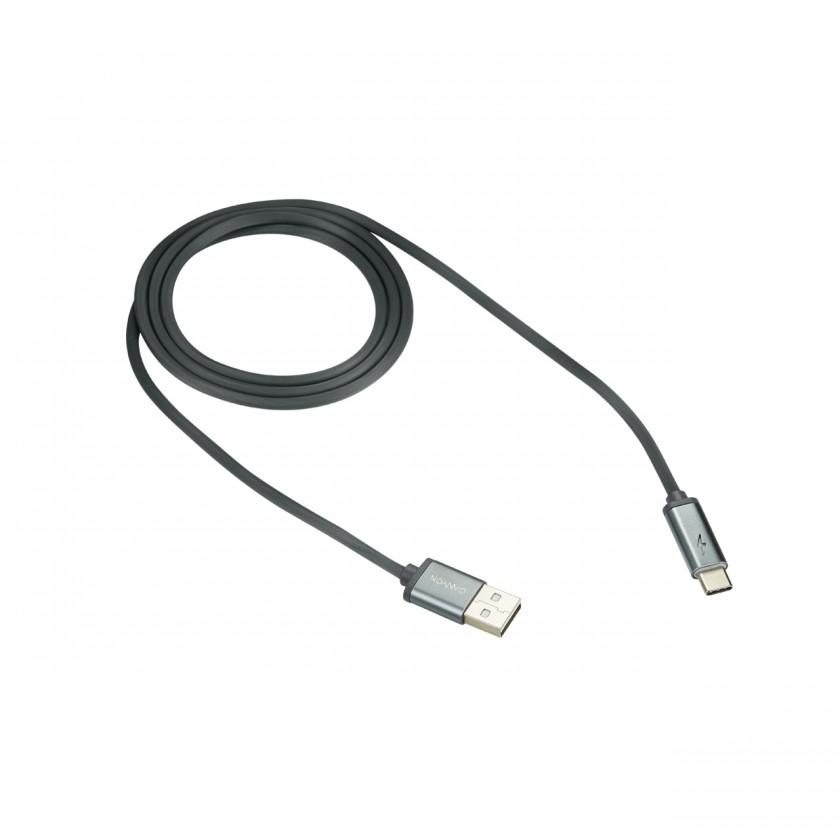 Káble k telefónom a tabletom Kábel Canyon USB Typ C na USB, 1m, LED indikácia nabíjania