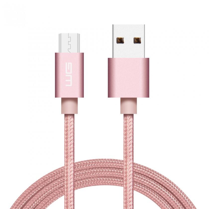 Káble k telefónom a tabletom Kábel WG Micro USB na USB, 1m, ružová