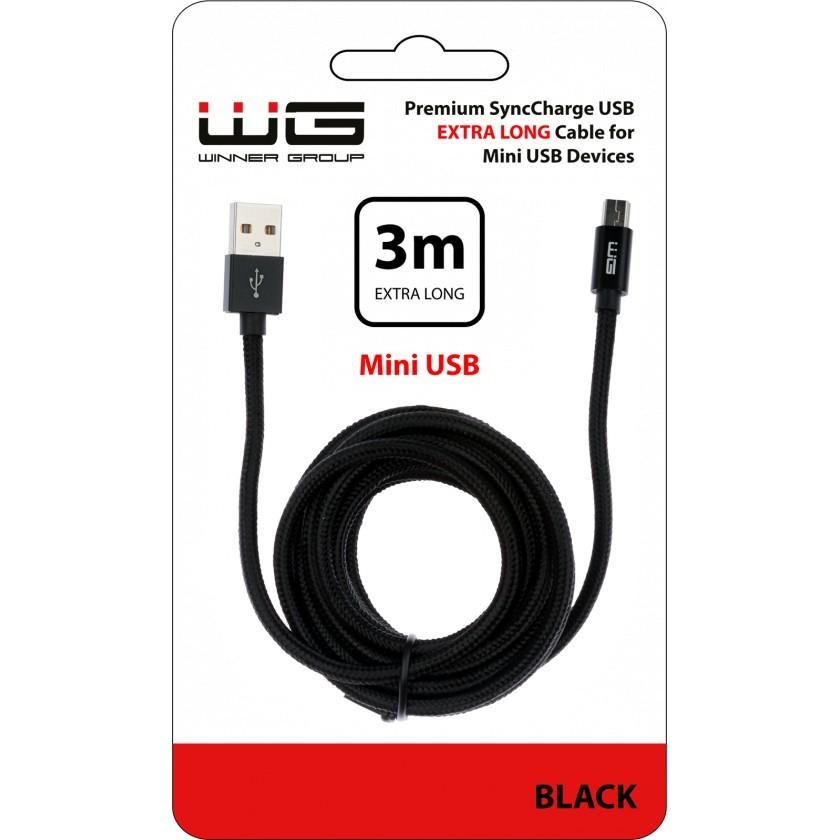 Káble k telefónom a tabletom Kábel WG Mini USB na USB, 3m, čierna
