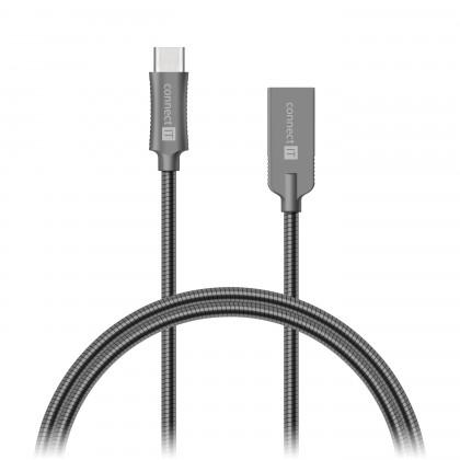 Káble k telefónom a tabletom Kabel Wirez Steel Knight USB-C - USB-A, šedá