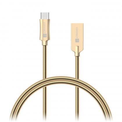 Káble k telefónom a tabletom Kabel Wirez Steel Knight USB-C - USB-A, zlatá