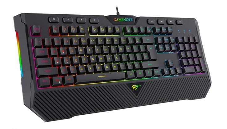 Káblová klávesnica Klávesnica HAVIT KB486L, herná, podcvietená, čierna POUŽITÉ, NEOP