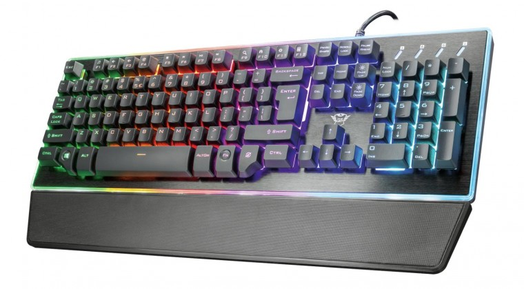 Káblová klávesnica Klávesnica Trust GXT 860 Thura, herná, CZ/SK, čierna
