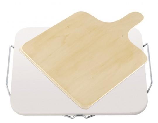 Kameň na pizzu, hranatý, drevené doštička (béžová)