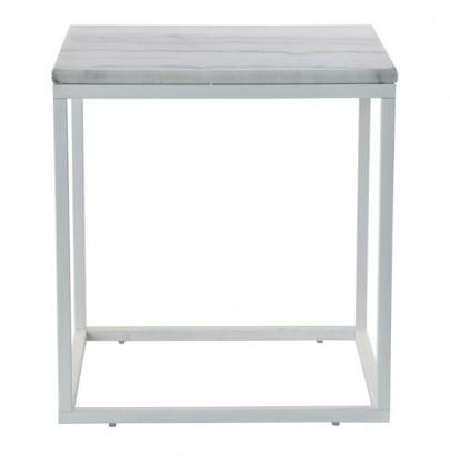 Kamenný Accent - Konferenčný stolík, biely rám (prírodný mramor, oceľ)