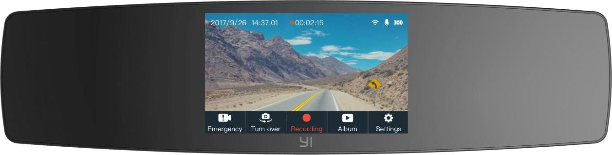 Kamera do auta Autokamera YI Mirror Dash Full HD, Wi-Fi + zadná HD kamera