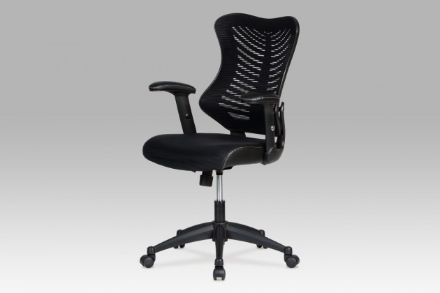 Kancelárske kreslo Fishbone 1 - Kancelárska stolička, látka mesh+koženka (čierna)