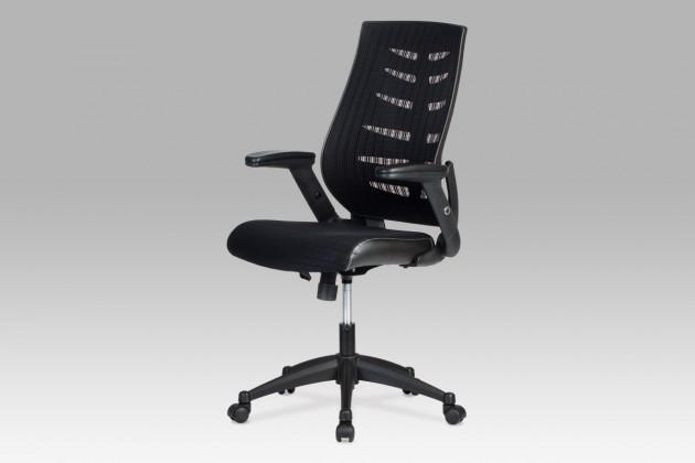 Kancelárske kreslo Fishbone 2 - Kancelárska stolička, látka mesh+koženka (čierna)