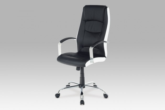 Kancelárske kreslo Flashy - Kancelárska stolička, chrom (čierna, biela, koženka)