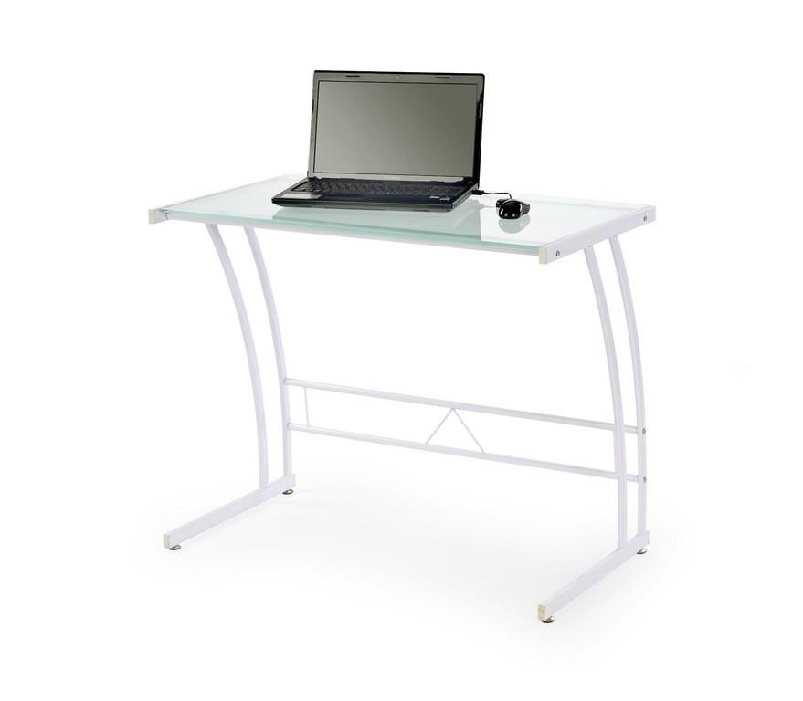 Kancelársky stôl B-22 (biela, priehľadné sklo)