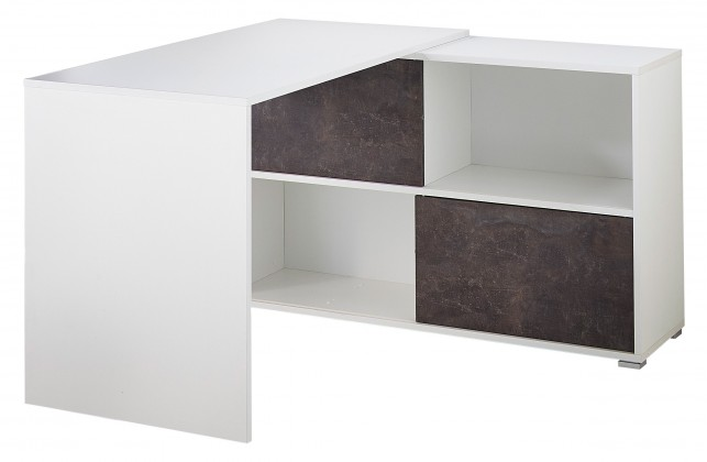 Kancelársky stôl GW-Altino - Stôl s regálom (biela/čedičová sivá)