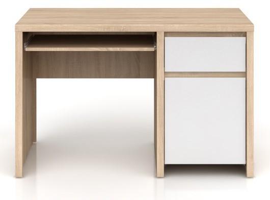 Kancelársky stôl Kaspian BIU1D1S/120 (Dub sonoma / Biela lesk)