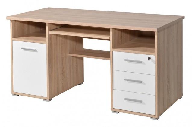 Kancelársky stôl Office - PC stôl (dub sonoma / biela)