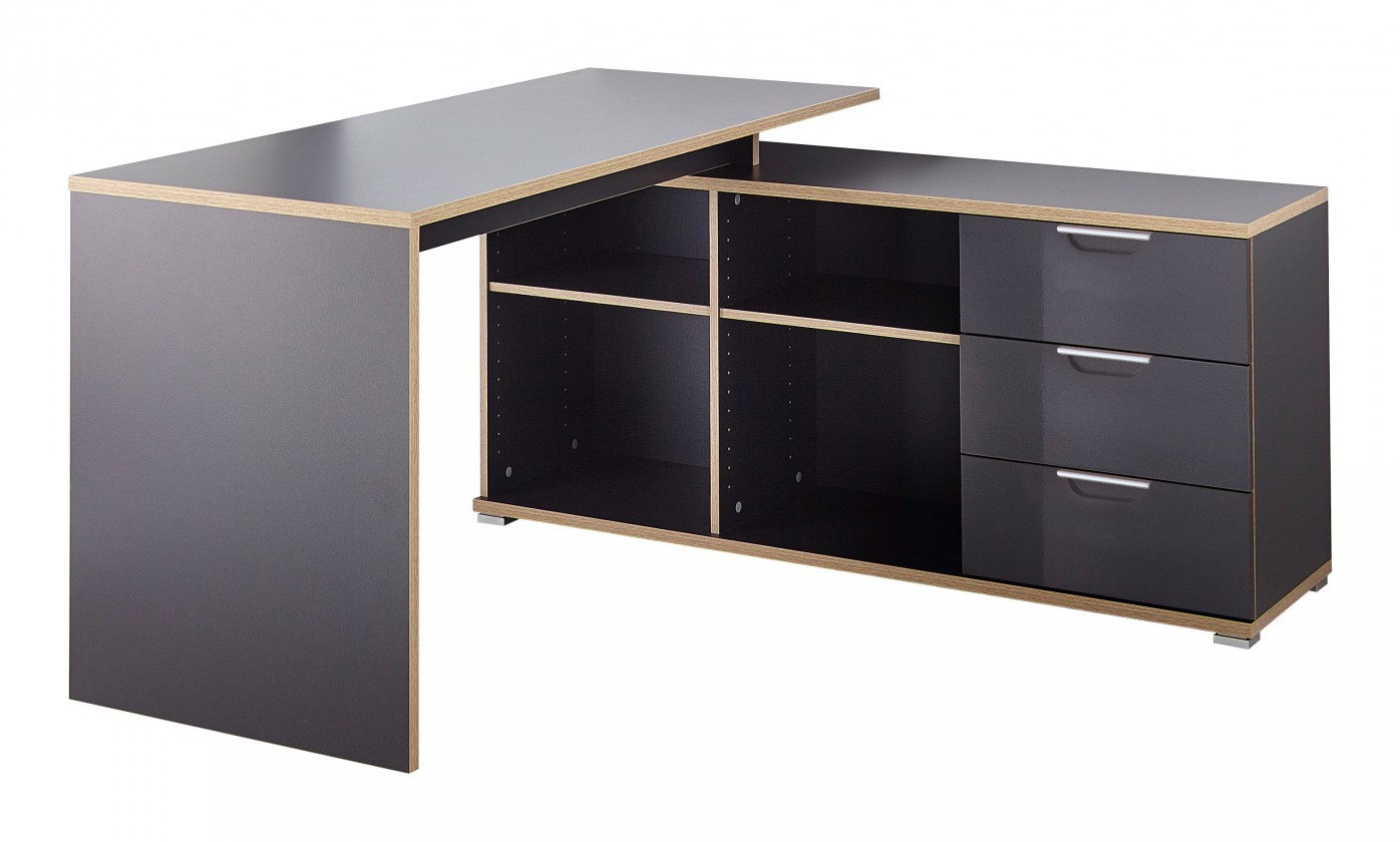 Kancelársky stôl Office - Stôl so skrinkou a zásuvkami (antracit)