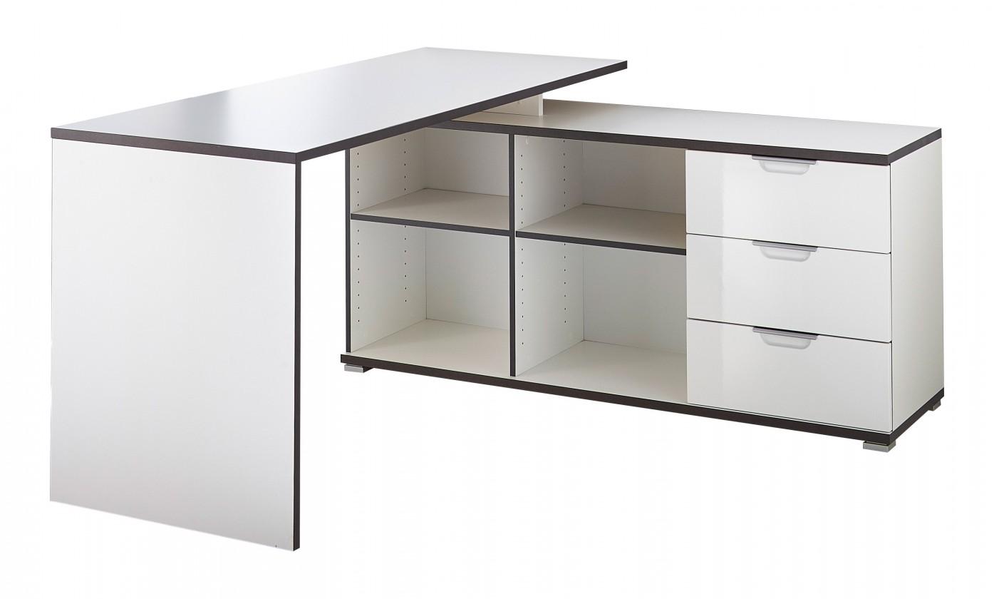 Kancelársky stôl Office - Stôl so skrinkou a zásuvkami (biela)