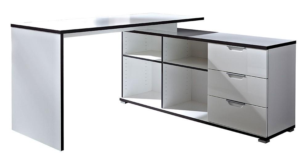 Kancelársky stôl Office - stôl so skrinkou (biela)