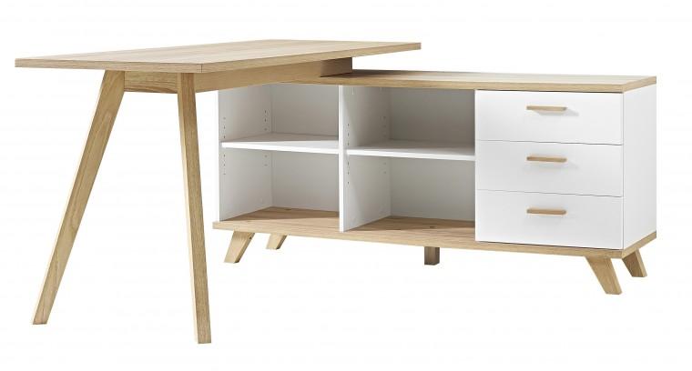 Kancelársky stôl Oslo - Stôl so skrinkou (biela/dub sanremo)