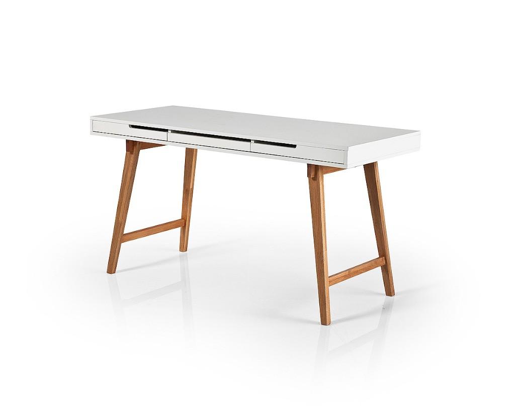 Kancelársky stôl Písací stôl Agape (biela, buk)