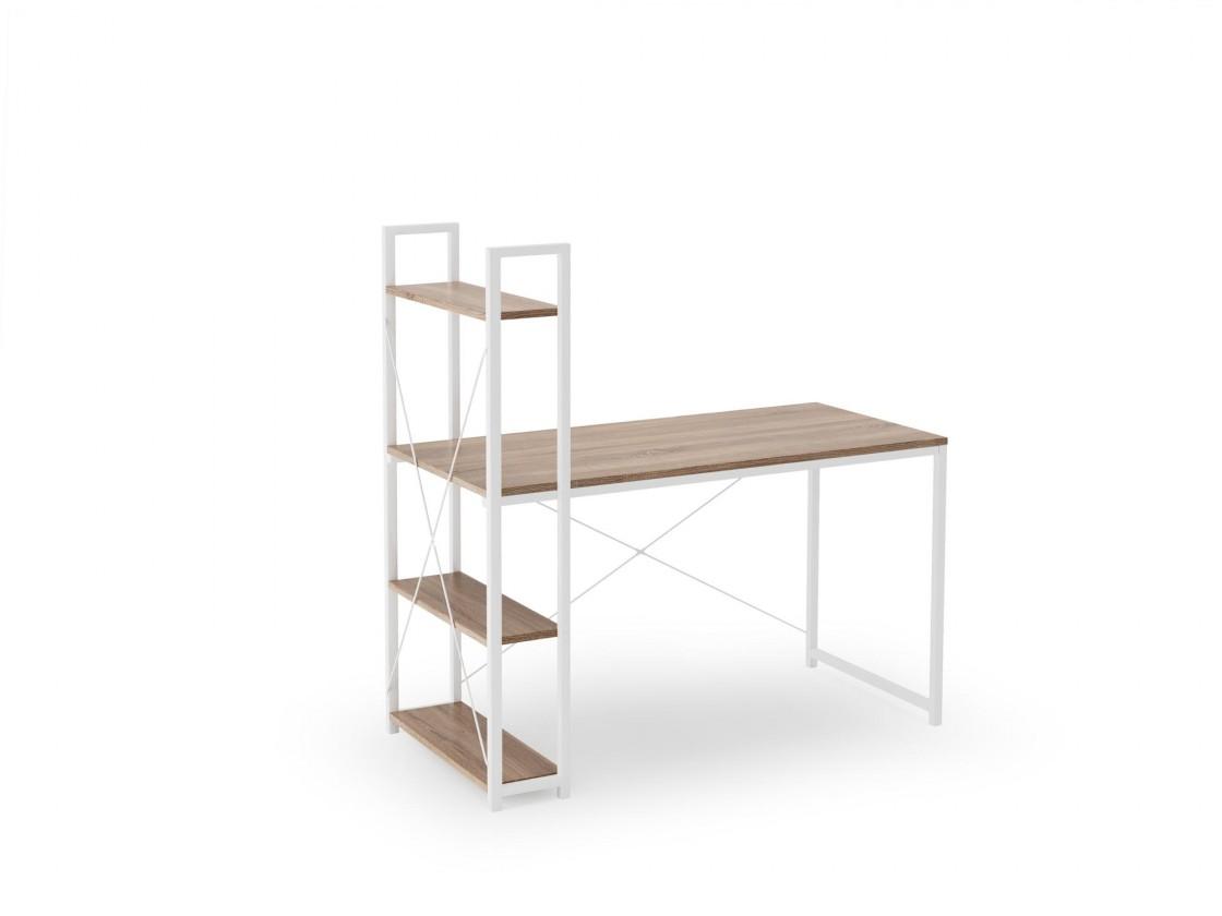Kancelársky stôl Písací stôl Jerico (120x120x64 cm, dub sonoma, biela)