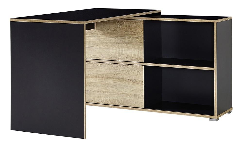 Kancelársky stôl Slide - stôl so skrinkou (antracit/dub sonoma)