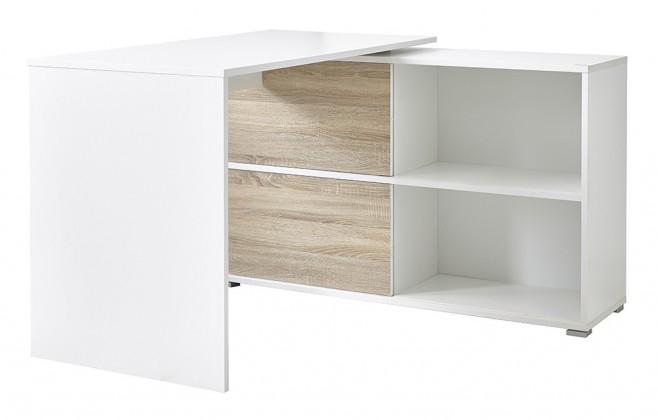 Kancelársky stôl Slide - stôl so skrinkou (biela/dub sonoma)