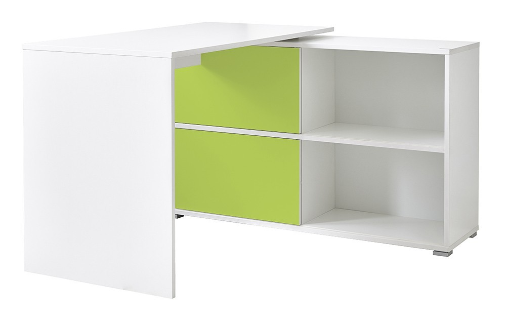 Kancelársky stôl Slide - stôl so skrinkou (biela/zelená)