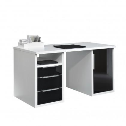 Kancelársky stôl Work - 3x zásuvka, skrinka, police, 140 cm (biela, čierne sklo)