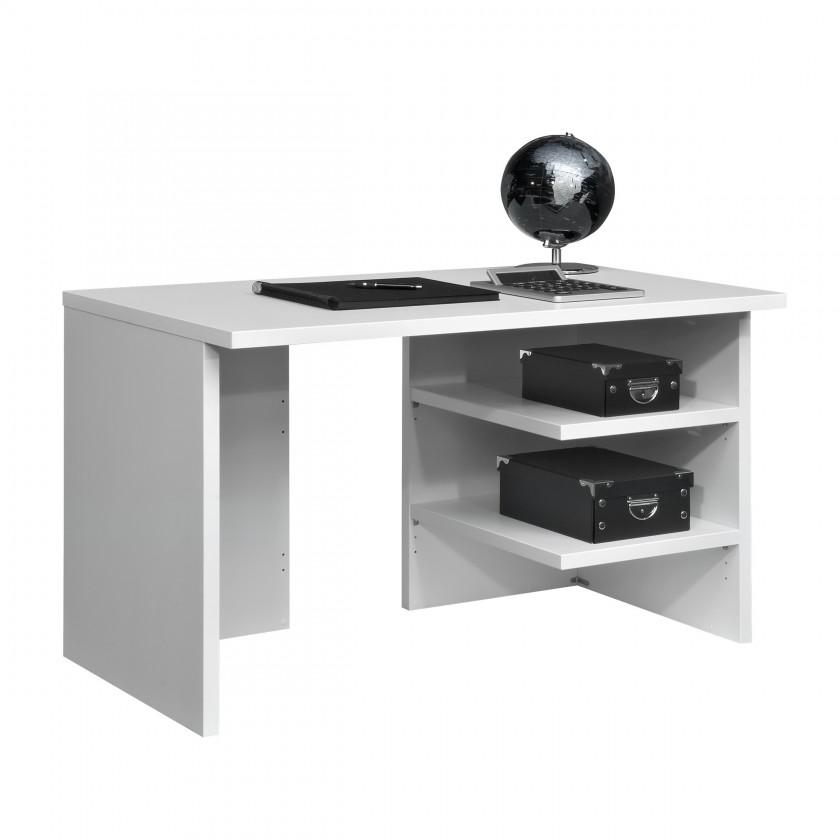 Kancelársky stôl Work - Stôl, 2x police, 120x74x70 (biela)