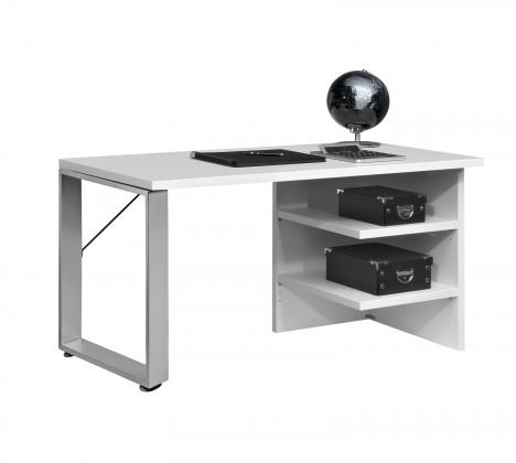 Kancelársky stôl Work - Stôl, 2x police, lamino/kov (biela)